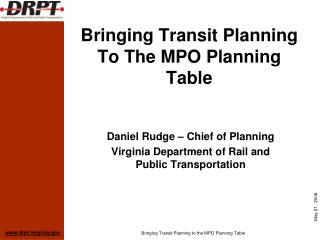 Bringing Transit Planning To The MPO Planning Table