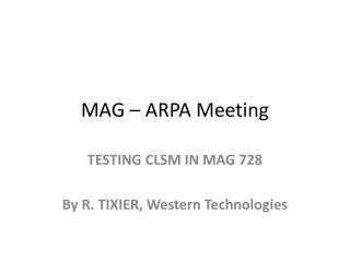 MAG – ARPA Meeting