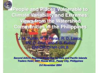 People and Places Vulnerable to Climate Variability and Extremes: