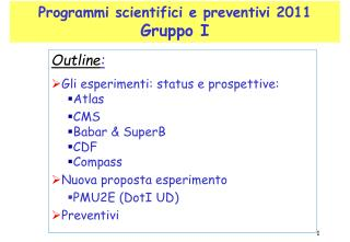 Programmi scientifici e preventivi 2011 Gruppo I