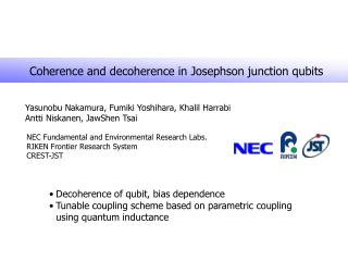 Coherence and decoherence in Josephson junction qubits