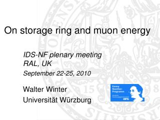 On storage ring and muon energy