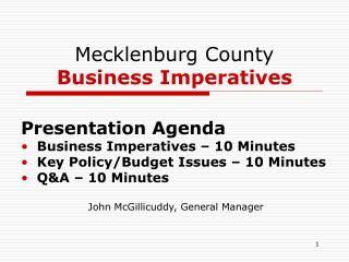 Mecklenburg County  Business Imperatives