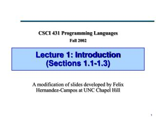 Lecture 1: Introduction (Sections 1.1-1.3)