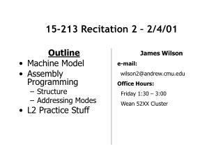 15-213 Recitation 2 – 2/4/01