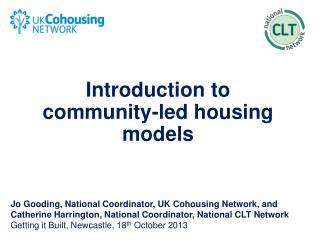 Introduction to  community-led housing models