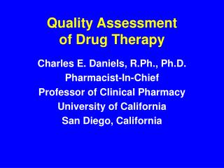 Quality Assessment  of Drug Therapy