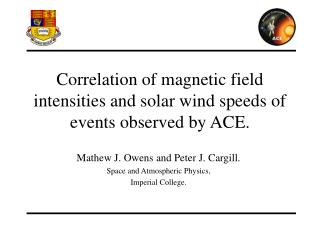 Correlation of magnetic field intensities and solar wind speeds of events observed by ACE.
