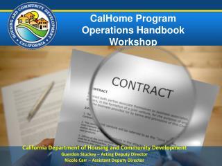 CalHome Program Operations Handbook  Workshop