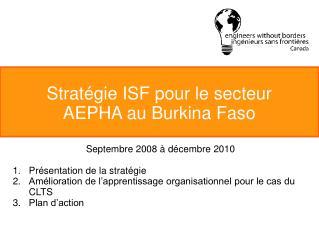 Stratégie ISF pour le secteur AEPHA au Burkina Faso