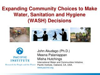 Expanding Community Choices to Make Water, Sanitation and Hygiene  (WASH) Decisions