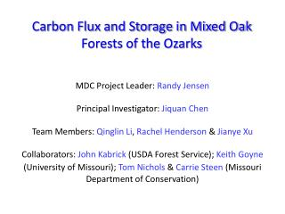 Carbon Flux and Storage in Mixed Oak Forests of the Ozarks