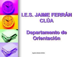 I.E.S. JAIME FERRÁN CLÚA Departamento de Orientación