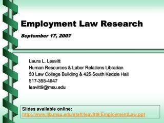 Employment Law Research September 17, 2007