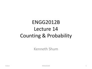 ENGG2012B Lecture 14 Counting & Probability