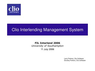 Clio Interlending Management System