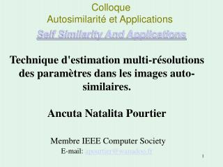 Colloque  		Autosimilarité et Applications Self Similarity And Applications