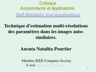 Colloque  Autosimilarité et Applications Self Similarity And Applications
