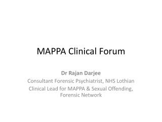 MAPPA Clinical Forum