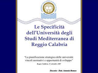 Docente:  Dott. Antonio Romeo