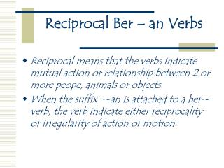 Reciprocal Ber – an Verbs