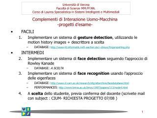 Complementi di Interazione Uomo-Macchina -progetti d'esame-