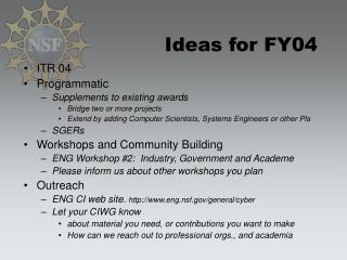 Ideas for FY04
