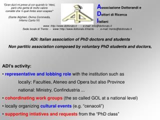 ADI: Italian association of PhD doctors and students