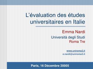 L'évaluation des études universitaires en Italie