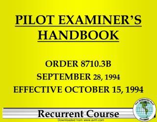 PILOT EXAMINER ' S  HANDBOOK