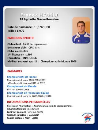 Franck HASSLI 74 kg Lutte Gréco-Romaine
