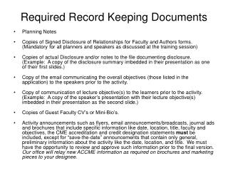 Required Record Keeping Documents