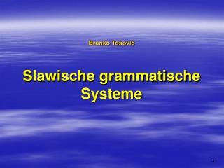 Branko To šović Slawische grammatische Systeme