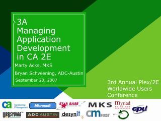3A Managing Application Development in CA 2E
