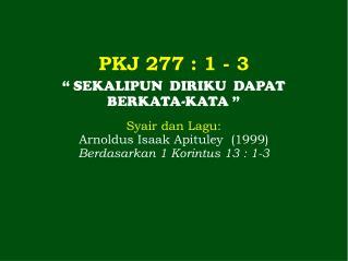 PKJ 277 : 1 - 3