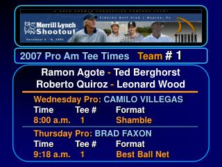 2007 Pro Am Tee Times    Team  # 1