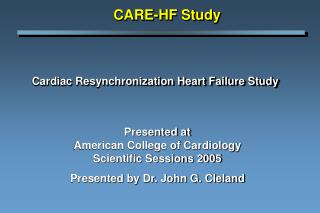 Cardiac Resynchronization Heart Failure Study