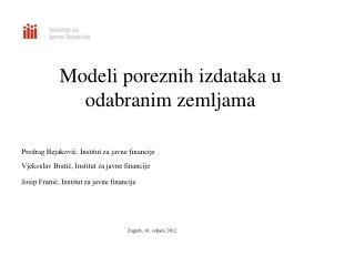 Modeli  poreznih izdataka  u  odabranim  zemljama