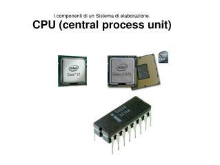 I componenti di un Sistema di elaborazione. CPU (central process unit)
