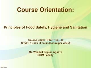 Course Orientation: