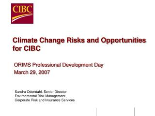 Climate Change Risks and Opportunities for CIBC