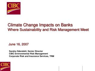 Climate Change Impacts on Banks Where Sustainability and Risk Management Meet