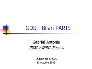 GDS : Bilan PARIS