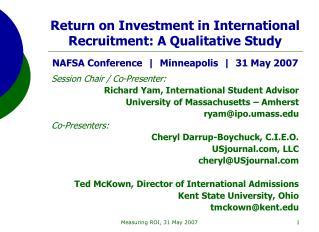 Session Chair / Co-Presenter:  Richard Yam, International Student Advisor