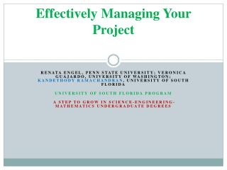 Effectively Managing Your Project