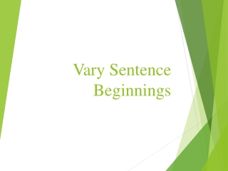 Varying Sentence Beginnings