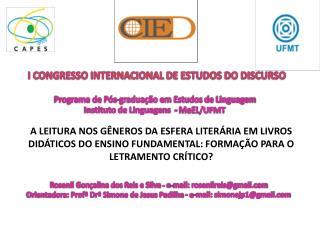 I CONGRESSO INTERNACIONAL DE ESTUDOS DO DISCURSO