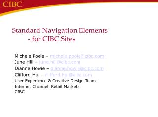 Standard Navigation Elements 	- for CIBC Sites
