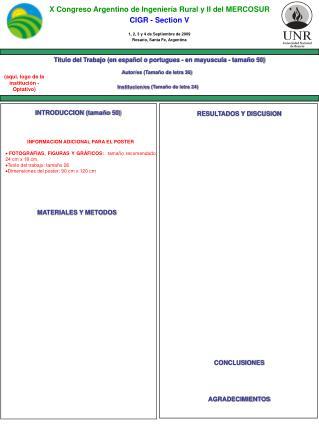 X Congreso Argentino de Ingeniería Rural y II del MERCOSUR CIGR - Section V
