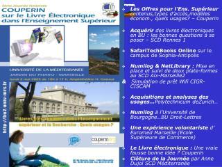 NetLibrary / Numilog :  2 plates-formes au SCD de  l'Université de la Méditerranée  :